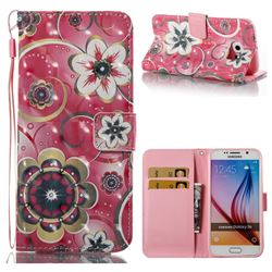 Tulip Flower 3D Painted Leather Wallet Case for Samsung Galaxy S6 G920