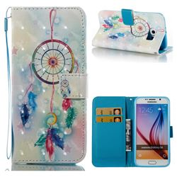Feather Wind Chimes 3D Painted Leather Wallet Case for Samsung Galaxy S6 G920