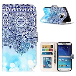 Totem Flower 3D Relief Oil PU Leather Wallet Case for Samsung Galaxy S6 G920