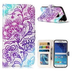 Purple Lotus 3D Relief Oil PU Leather Wallet Case for Samsung Galaxy S6 G920