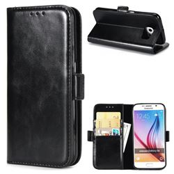 Luxury Crazy Horse PU Leather Wallet Case for Samsung Galaxy S6 G920 - Black