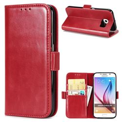 Luxury Crazy Horse PU Leather Wallet Case for Samsung Galaxy S6 G920 - Red