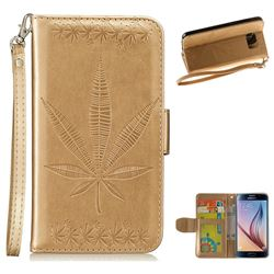 Intricate Embossing Maple Leather Wallet Case for Samsung Galaxy S6 G920 - Champagne