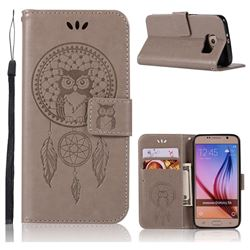 Intricate Embossing Owl Campanula Leather Wallet Case for Samsung Galaxy S6 G920 - Grey