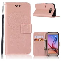 Intricate Embossing Owl Campanula Leather Wallet Case for Samsung Galaxy S6 G920 - Rose Gold
