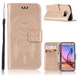 Intricate Embossing Owl Campanula Leather Wallet Case for Samsung Galaxy S6 G920 - Champagne
