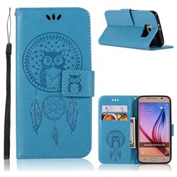 Intricate Embossing Owl Campanula Leather Wallet Case for Samsung Galaxy S6 G920 - Blue
