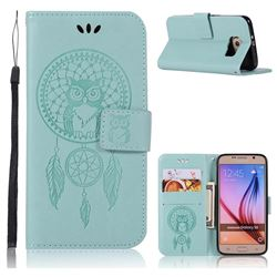 Intricate Embossing Owl Campanula Leather Wallet Case for Samsung Galaxy S6 G920 - Green