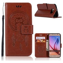 Intricate Embossing Owl Campanula Leather Wallet Case for Samsung Galaxy S6 G920 - Brown