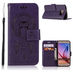 Intricate Embossing Owl Campanula Leather Wallet Case for Samsung Galaxy S6 G920 - Purple