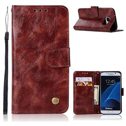 Luxury Retro Leather Wallet Case for Samsung Galaxy S6 G920 - Wine Red
