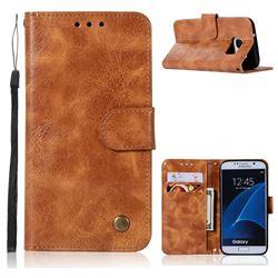 Luxury Retro Leather Wallet Case for Samsung Galaxy S6 G920 - Golden