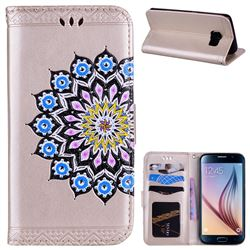 Datura Flowers Flash Powder Leather Wallet Holster Case for Samsung Galaxy S6 G920 - Golden