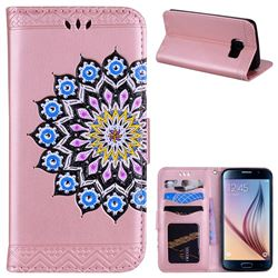 Datura Flowers Flash Powder Leather Wallet Holster Case for Samsung Galaxy S6 G920 - Pink