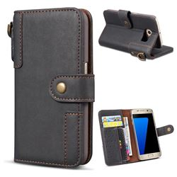Retro Luxury Cowhide Leather Wallet Case for Samsung Galaxy S6 G920 - Black