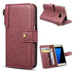 Retro Luxury Cowhide Leather Wallet Case for Samsung Galaxy S6 G920 - Wine Red