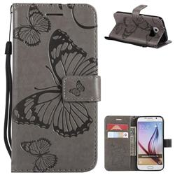Embossing 3D Butterfly Leather Wallet Case for Samsung Galaxy S6 G920 - Gray