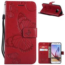 Embossing 3D Butterfly Leather Wallet Case for Samsung Galaxy S6 G920 - Red