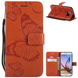 Embossing 3D Butterfly Leather Wallet Case for Samsung Galaxy S6 G920 - Orange