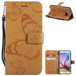 Embossing 3D Butterfly Leather Wallet Case for Samsung Galaxy S6 G920 - Yellow