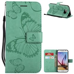 Embossing 3D Butterfly Leather Wallet Case for Samsung Galaxy S6 G920 - Green