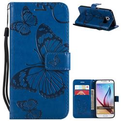 Embossing 3D Butterfly Leather Wallet Case for Samsung Galaxy S6 G920 - Blue