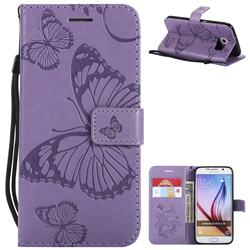 Embossing 3D Butterfly Leather Wallet Case for Samsung Galaxy S6 G920 - Purple