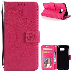 Intricate Embossing Datura Leather Wallet Case for Samsung Galaxy S6 G920 - Rose Red
