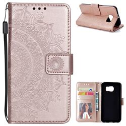 Intricate Embossing Datura Leather Wallet Case for Samsung Galaxy S6 G920 - Rose Gold