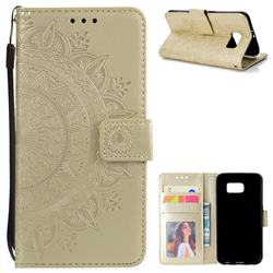 Intricate Embossing Datura Leather Wallet Case for Samsung Galaxy S6 G920 - Golden