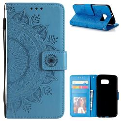 Intricate Embossing Datura Leather Wallet Case for Samsung Galaxy S6 G920 - Blue