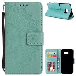Intricate Embossing Datura Leather Wallet Case for Samsung Galaxy S6 G920 - Mint Green