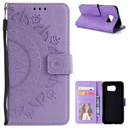 Intricate Embossing Datura Leather Wallet Case for Samsung Galaxy S6 G920 - Purple