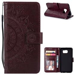 Intricate Embossing Datura Leather Wallet Case for Samsung Galaxy S6 G920 - Brown
