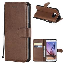 Retro Greek Classic Smooth PU Leather Wallet Phone Case for Samsung Galaxy S6 G920 - Brown