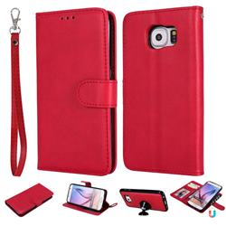 Retro Greek Detachable Magnetic PU Leather Wallet Phone Case for Samsung Galaxy S6 G920 - Red