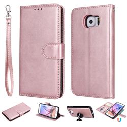 Retro Greek Detachable Magnetic PU Leather Wallet Phone Case for Samsung Galaxy S6 G920 - Rose Gold