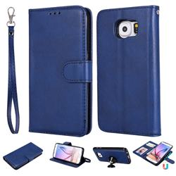Retro Greek Detachable Magnetic PU Leather Wallet Phone Case for Samsung Galaxy S6 G920 - Blue