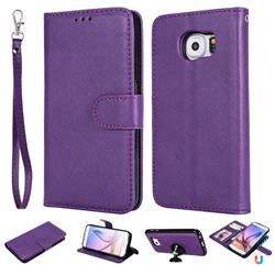 Retro Greek Detachable Magnetic PU Leather Wallet Phone Case for Samsung Galaxy S6 G920 - Purple