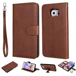 Retro Greek Detachable Magnetic PU Leather Wallet Phone Case for Samsung Galaxy S6 G920 - Brown