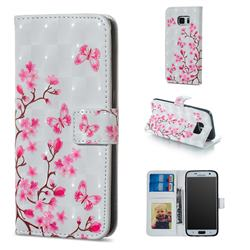 Butterfly Sakura Flower 3D Painted Leather Phone Wallet Case for Samsung Galaxy S6 G920