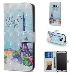 Paris Tower 3D Painted Leather Phone Wallet Case for Samsung Galaxy S6 G920