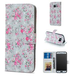 Roses Flower 3D Painted Leather Phone Wallet Case for Samsung Galaxy S6 G920