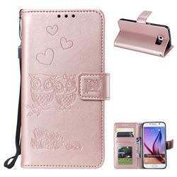 Embossing Owl Couple Flower Leather Wallet Case for Samsung Galaxy S6 G920 - Rose Gold