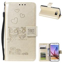 Embossing Owl Couple Flower Leather Wallet Case for Samsung Galaxy S6 G920 - Golden