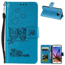 Embossing Owl Couple Flower Leather Wallet Case for Samsung Galaxy S6 G920 - Blue