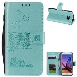 Embossing Owl Couple Flower Leather Wallet Case for Samsung Galaxy S6 G920 - Green