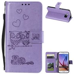 Embossing Owl Couple Flower Leather Wallet Case for Samsung Galaxy S6 G920 - Purple