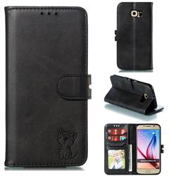 Embossing Happy Cat Leather Wallet Case for Samsung Galaxy S6 G920 - Black