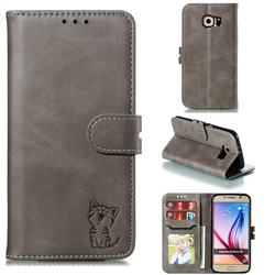 Embossing Happy Cat Leather Wallet Case for Samsung Galaxy S6 G920 - Gray